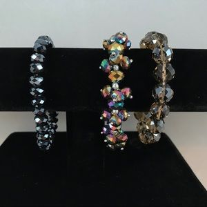 Jewelry - 3 Stretch Bracelets Czech Fire Polished Beads